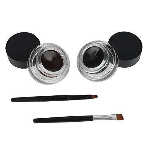 JUNGEN Impermeable 2 en 1 Gel Eyeliner Set Eyeliners Gel Marrón y Negro con Pincel Maquillaje Ceja