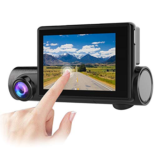 EWAY WiFi Dash Cam 1080P Dual Lens 2-in-1 Forward & Inner Car Camera HD 3' Touch Screen Wide Angle G-Sensor, GPS Tracking, Free 32GB SD Card