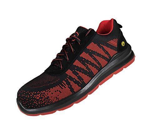 Zapato de Seguridad Homologado Suela Antiestática. Calzado de Protección Indra S3 Red BEEWORK para Hombre y Mujer. Zapatos Protección Laboral Industria y Construcción (Numeric_45)