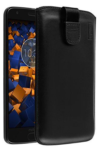mumbi Bolso de Cuero Real Compatible con Motorola Moto Z2 Force, (Pestaña con función de retracción, Auxiliar de extracción), Negro