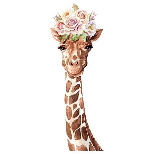 yabaduu YX018 Giraffe Wandtattoo Wandsticker Aufkleber für Kinderzimmer Babyzimmer Afrika beige Aquarell (85x30 cm)