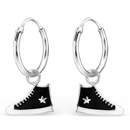 JAYARE Ohrringe Mädchen Turnschuhe Sneaker 925 Sterling Silber schwarz Kinder Creolen