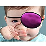 2 Pieces Silk Eye Patches, Adjustable Soft Eye Patch Elastic Eyepatche for Lazy Eye Amblyopia Strabismus for Kids Black and Pink