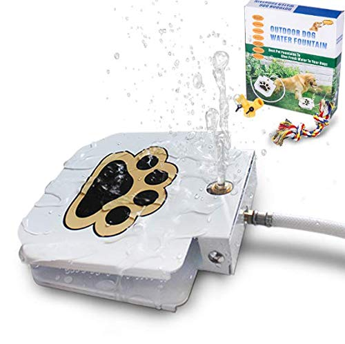 BACOENG Outdoor Dog Pet Water Sprinkler Easy Activated Dog Water Fountain Toy with Molar Rope, Upgrade Premier Valve Set (We Copper VS Others Plastic)