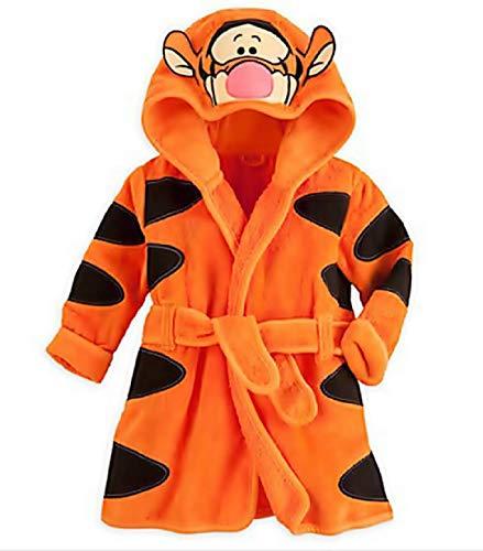 KIRALOVE Tiger Robe - Tiger Bademantel für Schlafzimmer - Nacht - Pyjama - Junge - weiches Fleece - mit Kapuze - Zeichen - größe 110-3/4 Jahre - orange