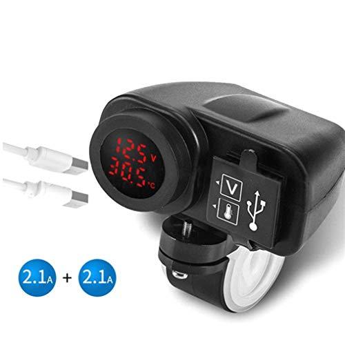 ZXYAN Pantalla de Temperatura de Voltaje de 12V Cargador USB de Motocicleta Moto Puertos duales Toma de Corriente Adaptador de Corriente a Prueba de Agua