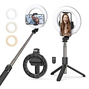 Selfie Ring Light with Tripod Stand & Phone Holder, Mpow Selfie Stick Tripod with Desk LED Ring Light with Stand for Live Stream/ Makeup/ Vlog, Compatible with iPhone 11/11PRO/SE/XS Max/XS/Android