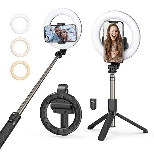 Aro de luz Mpow,Palo Selfie Trípode con Control Remoto,3 Colores 9 Brillos Regulables Wireless Control Remoto, para Movil TIK Tok, Maquillaje, Selfie, Streaming, Youtube