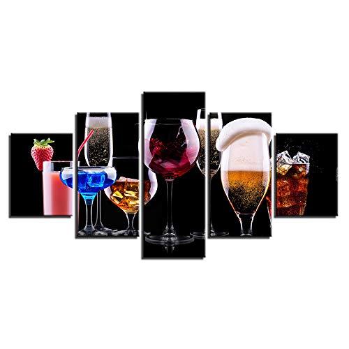 SoulSpaze Lienzo moderno HD impresiones 5 piezas colorido cerveza bebidas cuadros pintura pared arte modular cartel con marco tamaño 3