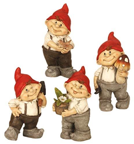 Geschenkestadl 4 süße GNOME Zwerg Gartenzwerg 22 cm rote Mütze Figuren für Haus und Garten