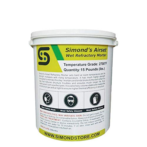 15 Lbs. Tub 2700°F Refractory Cement Pre Mix Air Setting Wet Refractory Mortar for Insulating Firebricks