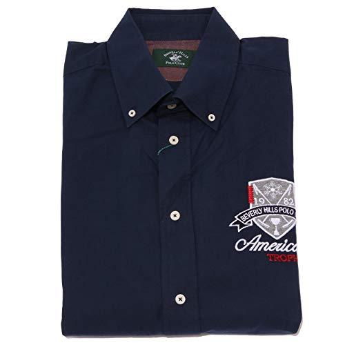 Beverly Hills Polo Club 7632K Camicia Uomo Blue Shirt Cotton Man [M]