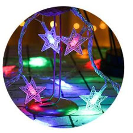 xinlianxin Guirnalda de luces LED de estrella, funciona con pilas, lámpara de Navidad, fiesta, boda, luces decorativas (color: verde claro)