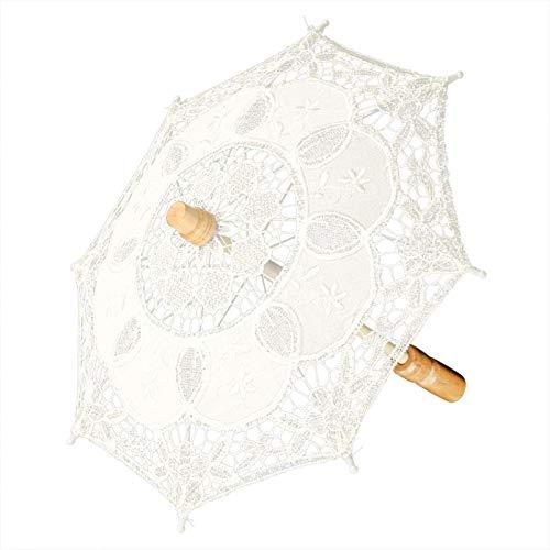 Agatige Ombrello in Pizzo Mini, ombrellone da Sposa da Sposa Vintage per Ragazza, Decorazioni per Feste, Fotografia di Ballo, Servizio Fotografico(Beige)