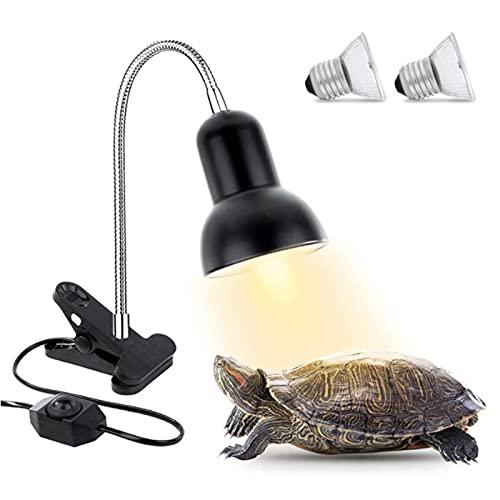 Lampada Tartaruga, 50W 70W Lampada riscaldante per rettili, Lampada UVB con clip ruotabile a 360° e interruttore di temperatura regolabile, per acquario per tartarughe lucertole (2 lampadine incluse)