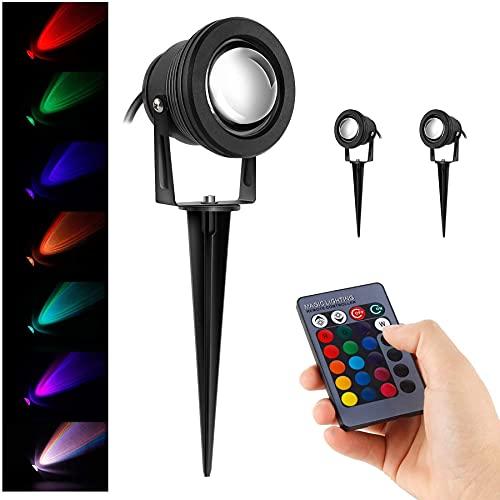 2er Pack 10W RGB LED Gartenleuchte Scheinwerfer,230V,Ausschalten Memory-Funktion,mit Stecker Erdspieß,Rasen Licht,GUMMI 1,5m Kabel,IP65,LED Lawn Licht, Spotbeleuchtung,Bodenleuchte,Teichstrahler