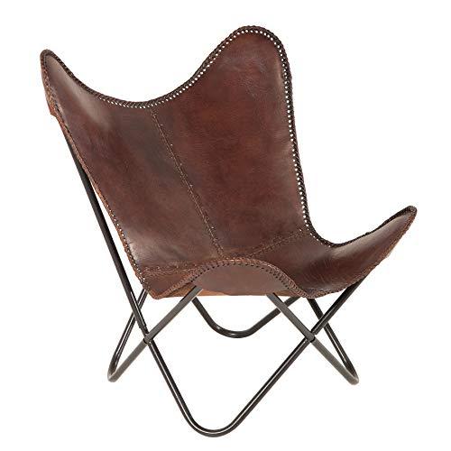 Invicta Interior Retro Lounge Sessel Butterfly braun Bezug aus Echtleder schwarzes Gestell Relaxsessel Wohnzimmersessel