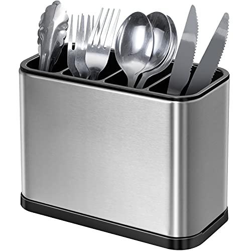 OriwarE Besteckhalter 4 Teilig für Küche Esszimmer Abtropfschale Besteckkasten für Küchenutensilien Besteckorganizer Caddy Halter Spülbereich Rost und Kratzerfreies Edelstahl Anti-Rutsch
