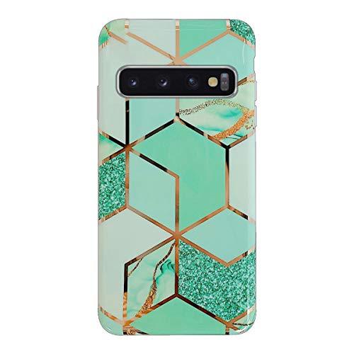 Suhctup Compatible pour Coque Etui Samsung Galaxy S9 Silicone Motif Marbre,Bling Bling Housse de Protection TPU Antichoc Bumper Gel Case,Shiny Rose Gold+Fleurs Design Motif(Vert2)