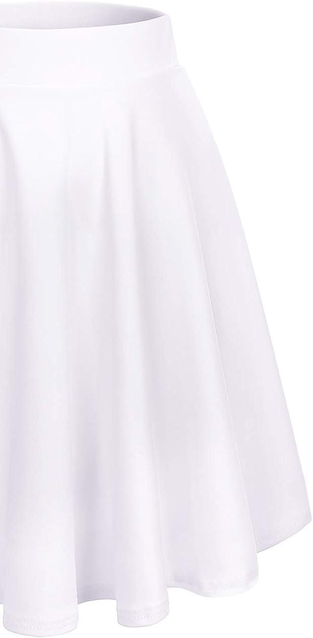 DRESSTELLS Damen Basic Solide Vielseitige Dehnbar Informell Mini Glocken Rock White-midi