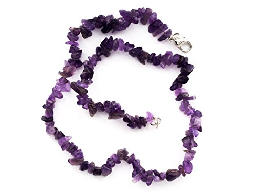 Taddart Minerals - Splitter viola collana in pietra ametista naturale 45 cm di lunghezza - fatta a mano