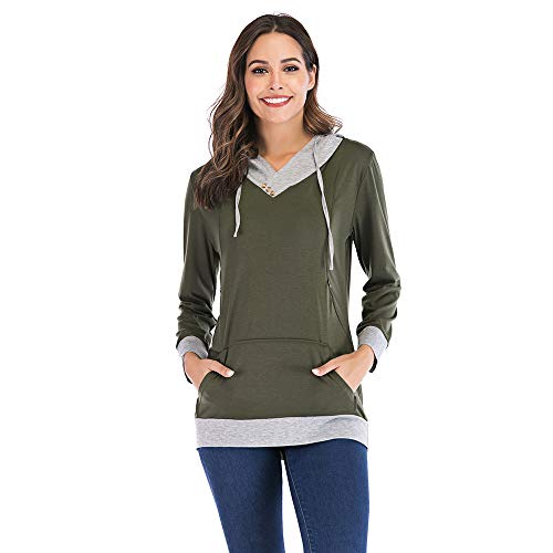 Pregnancy Nursing Long Sleeves Maternity Clothes Hooded Breastfeeding Tops Patchwork T-Shirt for Pregnant Women