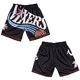 Sixers Big Face - Juego de pantalones cortos de baloncesto para hombre, edición de fans de malla transpirable prensada en caliente, camisetas deportivas de secado rápido (S-XXL)