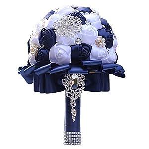 Fiwisora Brooch Bouquet 8″ White Royal Blue Bridal Holding Wedding Bouquet Bridesmaid Satin Rose Artificial Pearls Satin Ribbons Custom-Made Wedding Floral Bouquet Centerpiece Arrangement