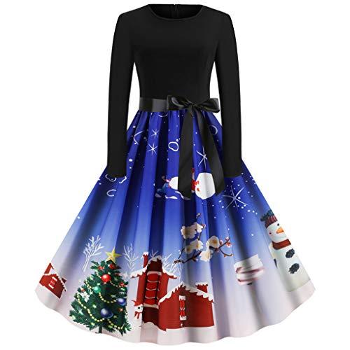 Kleider Damen Herbst Halloween Damen Langarm O Hals Druck Winter Vintage Kleid Partykleid Happy Halloween Weihnachten Frauen Langarm O Hals Druck Vintage Kleid (L, Dark Blue)