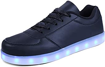 kealux Unisex LED Shoes Women/Men Low-Top Light Up Sneakers Black Flashing USB Charging Shoes for Adult - 40