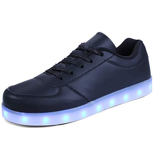 kealux Unisex Adulto Zapatos LED Zapatos con iluminación de tacón bajo Zapatillas Negro con Luces LED Intermitentes Zapatos Transpirables con Carga USB - 38