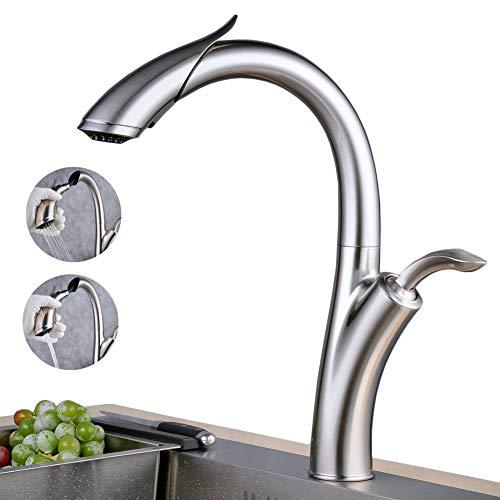 Wasserhahn Küche Ausziehbar 2 SprühModus,Gebürstetes Nickel Küchenarmatur mit Brause Armatur Küche 360° drehbar Einhebelarmatur Spültischarmatur Mischbatterie