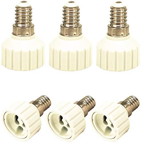 ZDCDJ 6pcs E14 adapter E14 auf GU10 Lampensockel Adapter Konverter,E14 auf GU10 Lampensockeladapter für Glühlampen,LED,Halogen Energiespar Lampen