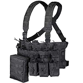 GZ XINXING Chest Rig Tactical Vest X Harness for Airsoft Shooting Wargame Paintball  Black