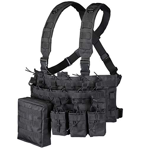 GZ XINXING Chest Rig Tactical Vest X Harness for Airsoft Shooting Wargame Paintball (Black)