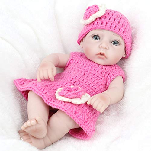 NPKDOLL 28cm Reborn Bebé Muñecos-niña,G160 Silicona Suave para Todo El Cuerpo/Ojos Abiertos/Puede Entrar En El Agua/ con Ropa