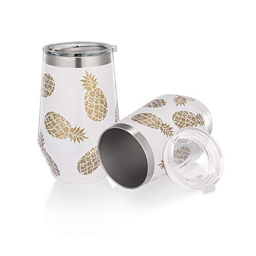 WDG Diamant-Ananas-Weingläser, 2 Stück, Stahl ohne Stiel, 340 ml, vakuumisoliert, Ananas-Tasse, Kaffeebecher