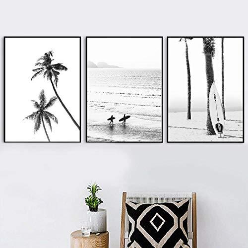 ARTTONIT Carteles e Impresiones en Blanco y Negro del Paisaje de Surf costero Sea Wave Tabla de Surf Fotografía Fotos Lienzo Pintura Decoración para el hogar 50x70cmx3 sin Marco