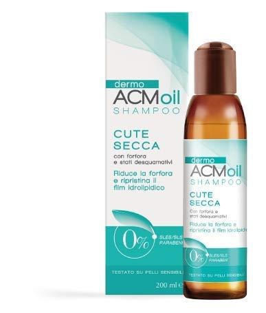 DermoACM oil SHAMPOO indicato per la CUTE SECCA. Formulazione a base olio, ad alto potere schiumogeno. Azione seboregolatrice, riduce la forfora secca. 200 ML