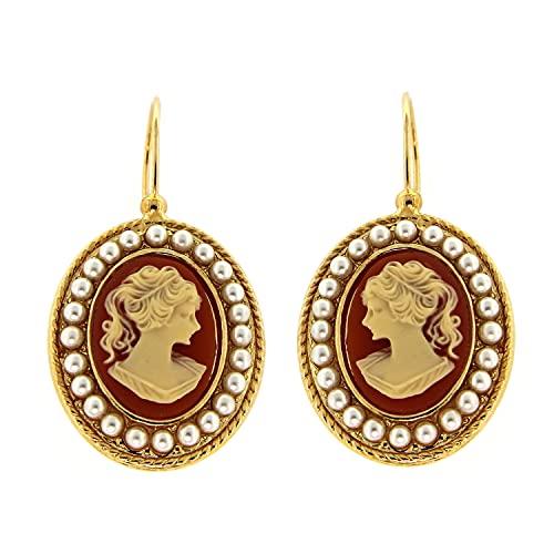 Mokilu Ohrring aus hypoallergenem Messing mit 24 K Vergoldung, Antikgold-Effekt, mit Hakenverschluss, Kamee-Farbe Rosa mit elfenbeinfarbenen Perlen