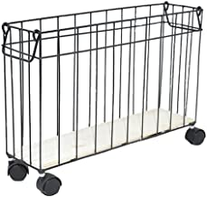 SKGOFGODcw Home Storage Bins Wrought Iron Magazine Storage Basket, Wall-mounted With Wheels, Floor-to-ceiling Rack, Book A...