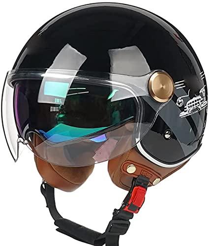 MOMOJA Casco Retro De Motocicleta De Cara Abierta Medio Casco De Motocicleta Eléctrica Vintage con Gafas Certificado ECE, Casco De Ciclomotor con Protección Solar para Carretera A,L(57-58cm)