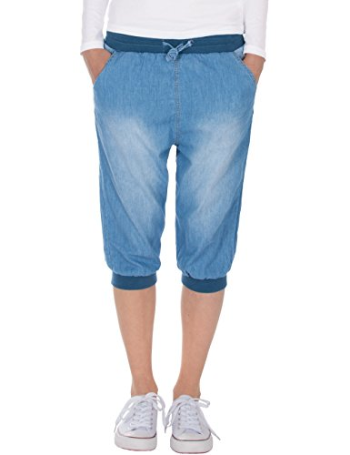Fraternel Pantacourt Femme Bermuda Jeans Short Bleu Clair M / 38