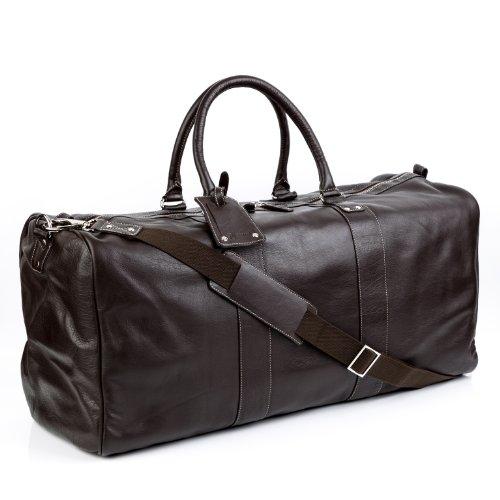 BACCINI® borsa da viaggio vera pelle TOBY grande XXL borsa da weekend 55 l borsone uomo cuoio marrone