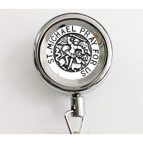 bab Michael Pray for Us Halskette mit Anhänger im Vintage-Stil Michael Pray for Us (englischsprachig), einziehbar, mit Wasserdichten Ausweishaltern und Schlüsselanhänger