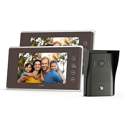 TILVIEW Video Door Phone Doorbell Kit Wired Video Intercom System Waterproof IP44 with Night Vision Camera and LCD Monitor, 16 Chimes and SD Card Storage (1 Camera + 2 Monitor)