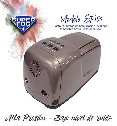 SUPERFOG Kit de nebulización con 20 Puntos de enfriamiento. Refrigeración por Agua pulverizada. Neblina refrescante para Patios, terrazas y áreas Exteriores Desde 5 hasta 50 Metros Cuadrados.