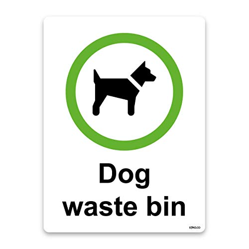 Hond afval Bin zelfklevende Vinyl Sticker of stijve kunststof, Recycle en afvalbeheer tekenen