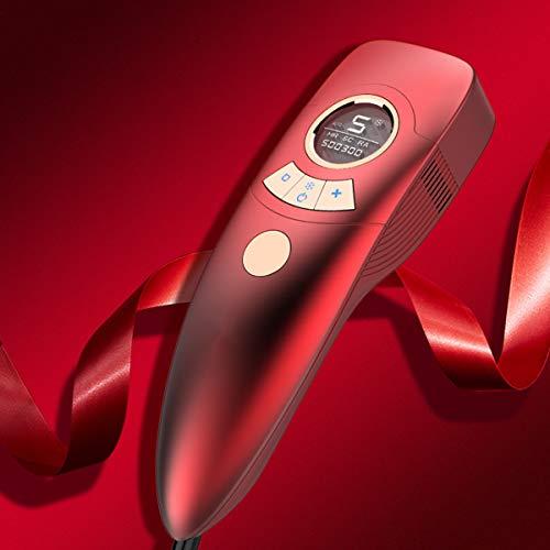 Epilator IPL Haarentfernungsgerät mit Eispflegetechnologie LCD-Bildschirm für Körper, Gesicht, Bikini-Zone und Achseln 500,000 Lichtimpulse HR/RA/SC 3 in 1,Rot