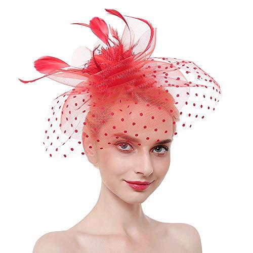 Onefeart Hanf Garn Haarschmuck Clips für Frauen Hut Gestalten Veil Cover Design Party Haarschmuck Braut Kopfschmuck Rot
